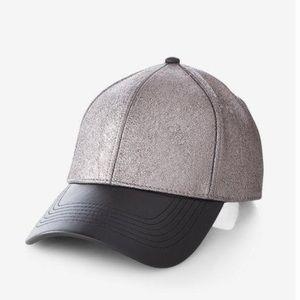 Metallic Gunmetal Black Faux Leather Baseball Hat